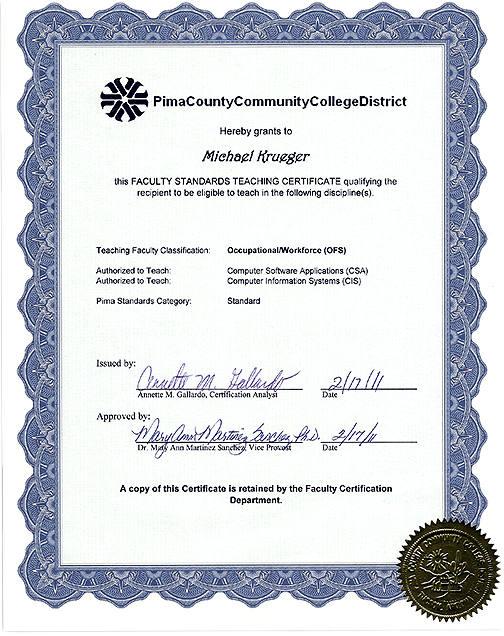 Michael Krueger Teaching Certification